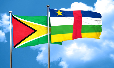central african republic: Guyana flag with Central African Republic flag, 3D rendering Stock Photo