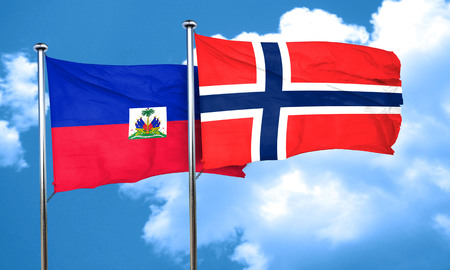 norway flag: Haiti flag with Norway flag, 3D rendering