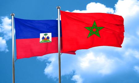 haiti: Haiti flag with Morocco flag, 3D rendering Stock Photo