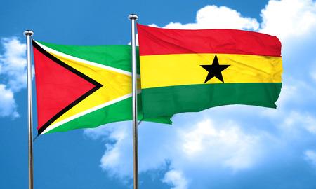 Ghana: Guyana flag with Ghana flag, 3D rendering Stock Photo