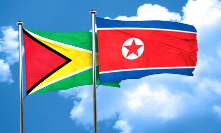 korea flag: Guyana flag with North Korea flag, 3D rendering