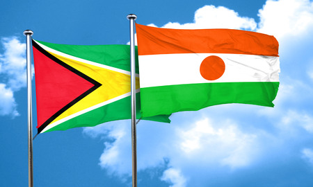 niger: Guyana flag with Niger flag, 3D rendering Stock Photo