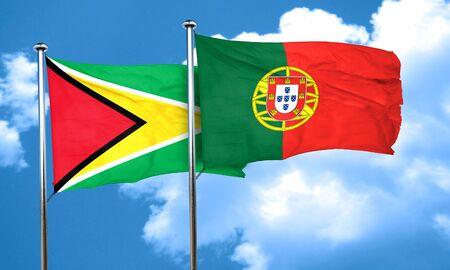 drapeau portugal: drapeau Guyana avec le Portugal drapeau, rendu 3D