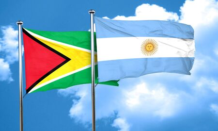 argentine: Guyana flag with Argentine flag, 3D rendering