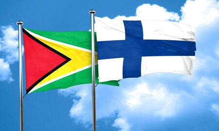 FINLAND flag: Guyana flag with Finland flag, 3D rendering