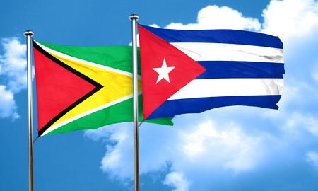 cuba flag: Guyana flag with cuba flag, 3D rendering