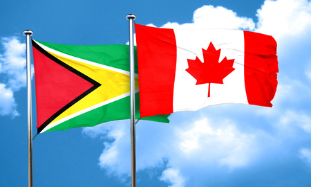guyana: Guyana flag with Canada flag, 3D rendering Stock Photo