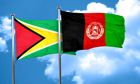 Guyana flag with afghanistan flag, 3D rendering