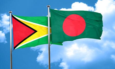 amity: Guyana flag with Bangladesh flag, 3D rendering