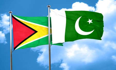 pakistan flag: Guyana flag with Pakistan flag, 3D rendering