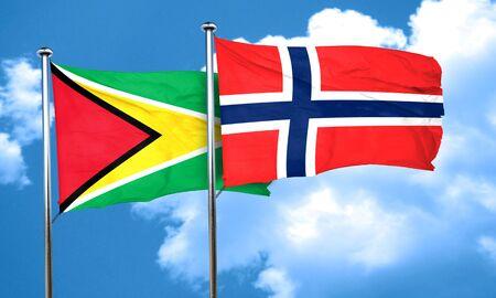 norway flag: Guyana flag with Norway flag, 3D rendering
