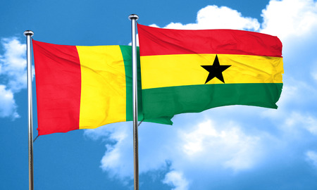 flag: Guinea flag with Ghana flag, 3D rendering