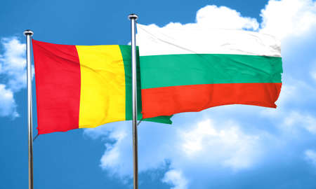 guinea: Guinea flag with Bulgaria flag, 3D rendering Stock Photo