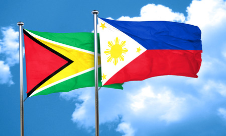 philippino: Guyana flag with Philippines flag, 3D rendering