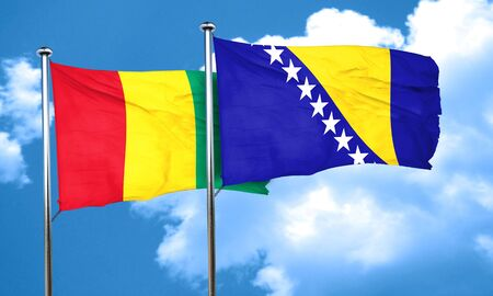 bosnia: Guinea flag with Bosnia and Herzegovina flag, 3D rendering Stock Photo