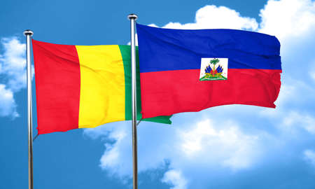 haiti: Guinea flag with Haiti flag, 3D rendering