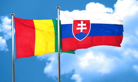 guinea: Guinea flag with Slovakia flag, 3D rendering Stock Photo