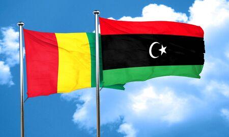 guinea: Guinea flag with Libya flag, 3D rendering