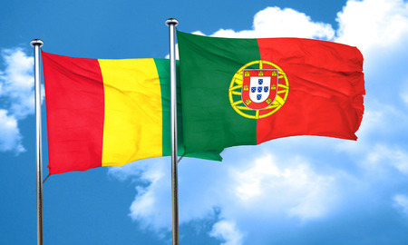 portugese: Guinea flag with Portugal flag, 3D rendering