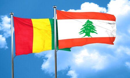 guinea: Guinea flag with Lebanon flag, 3D rendering Stock Photo