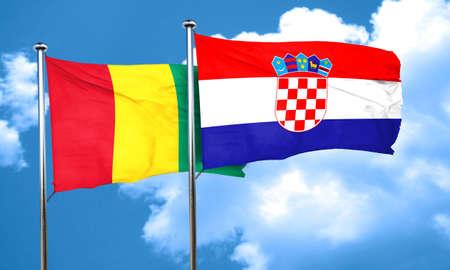 croatia flag: Guinea flag with Croatia flag, 3D rendering