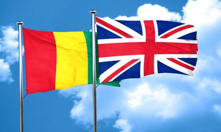 great britain flag: Guinea flag with Great Britain flag, 3D rendering