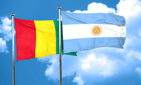 argentine: Guinea flag with Argentine flag, 3D rendering