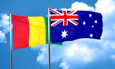 guinea: Guinea flag with Australia flag, 3D rendering