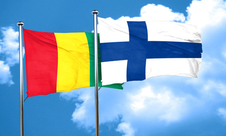 guinea: Guinea flag with Finland flag, 3D rendering