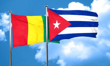 cuba flag: Guinea flag with cuba flag, 3D rendering