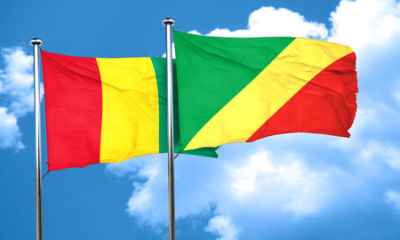 guinea: Guinea flag with congo flag, 3D rendering