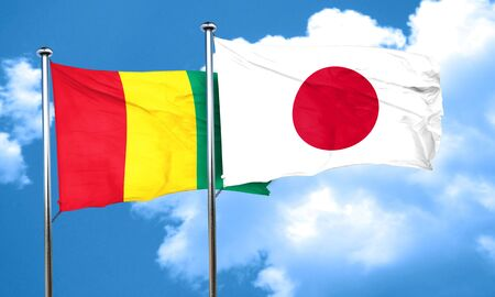 guinea: Guinea flag with Japan flag, 3D rendering