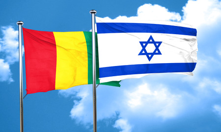 israel flag: Guinea flag with Israel flag, 3D rendering