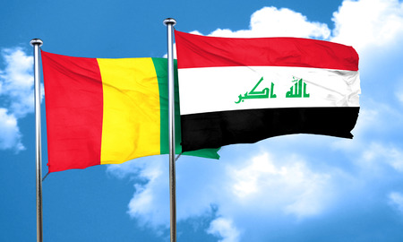iraq flag: Guinea flag with Iraq flag, 3D rendering
