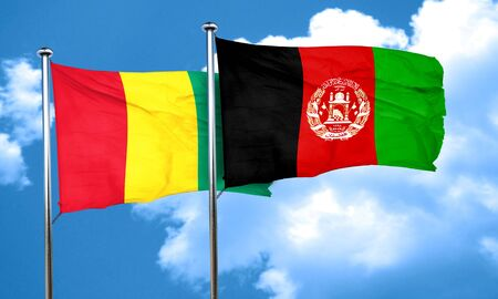 Guinea flag with afghanistan flag, 3D rendering Stock Photo