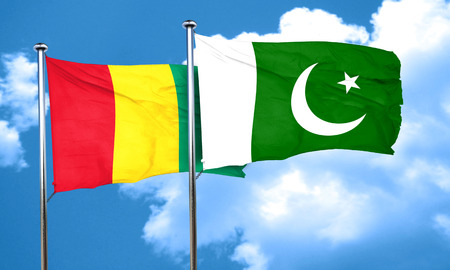 guinea: Guinea flag with Pakistan flag, 3D rendering