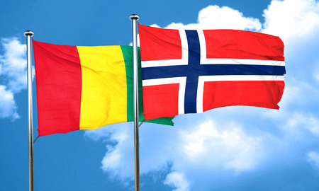norway flag: Guinea flag with Norway flag, 3D rendering