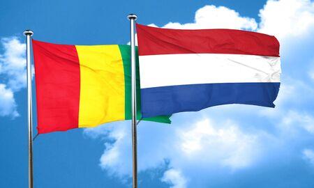 netherlands flag: Guinea flag with Netherlands flag, 3D rendering