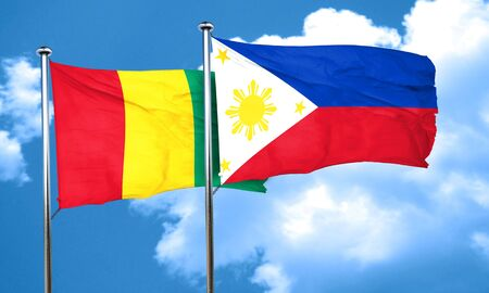 philippino: Guinea flag with Philippines flag, 3D rendering Stock Photo