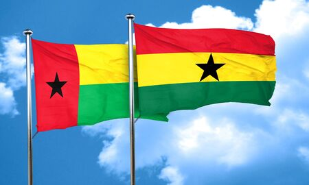 ghanese: Guinea bissau flag with Ghana flag, 3D rendering