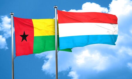 bissau: Guinea bissau flag with Luxembourg flag, 3D rendering