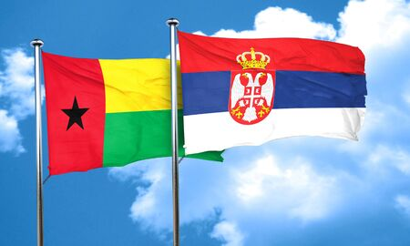 serbia flag: Guinea bissau flag with Serbia flag, 3D rendering
