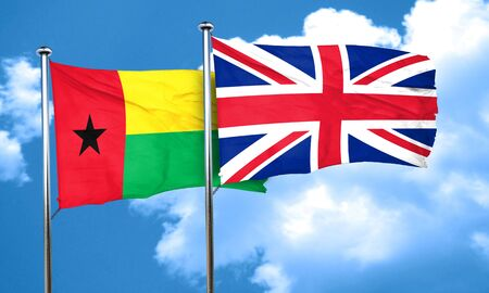 great britain flag: Guinea bissau flag with Great Britain flag, 3D rendering