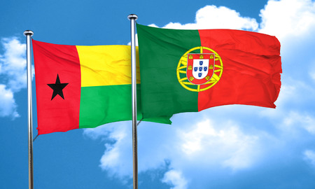 bissau: Guinea bissau flag with Portugal flag, 3D rendering Stock Photo