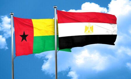 egypt flag: Guinea bissau flag with egypt flag, 3D rendering