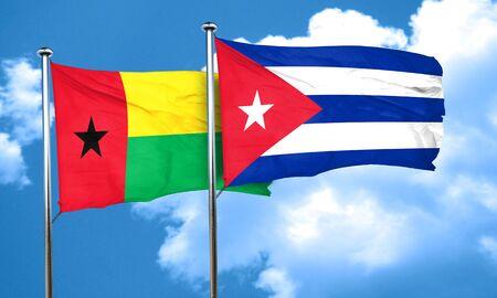 cuba flag: Guinea bissau flag with cuba flag, 3D rendering