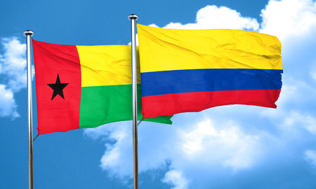 bissau: Guinea bissau flag with Colombia flag, 3D rendering Stock Photo