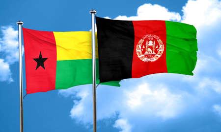 Guinea bissau flag with afghanistan flag, 3D rendering