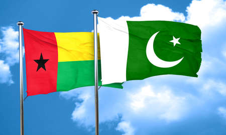 pakistan flag: Guinea bissau flag with Pakistan flag, 3D rendering