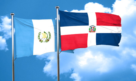 guatemalan: guatemala flag with Dominican Republic flag, 3D rendering